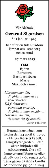 Gertrud Sigurdsen Dödsannons