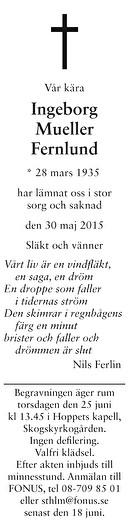 Ingeborg Mueller Fernlund Dödsannons