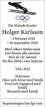 Holger Karlsson Dödsannons