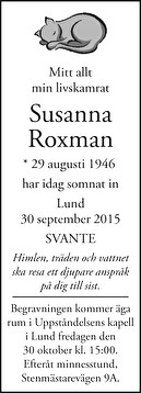 Susanna Roxman Dödsannons