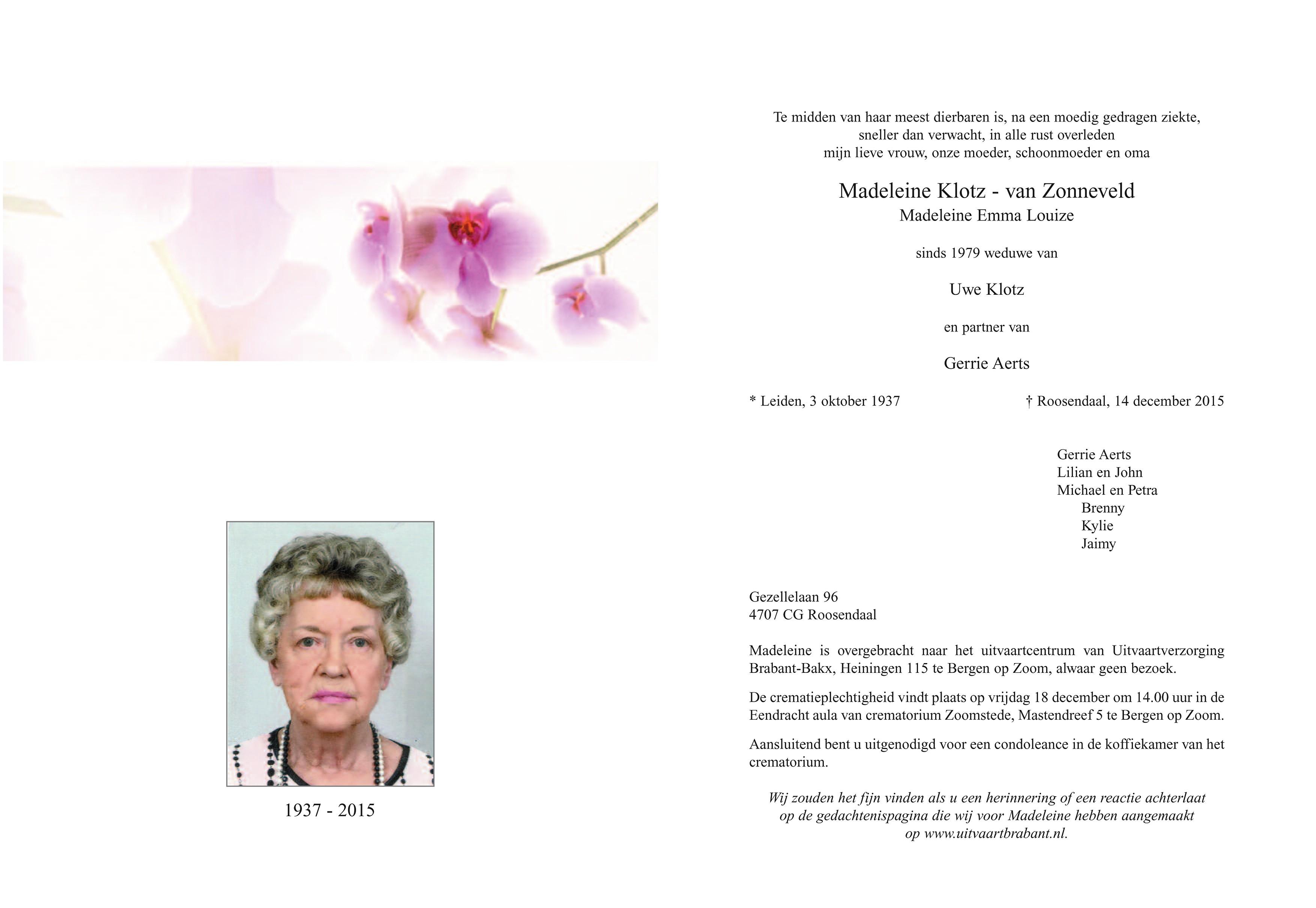 Madeleine Klotz - van Zonneveld Death notice
