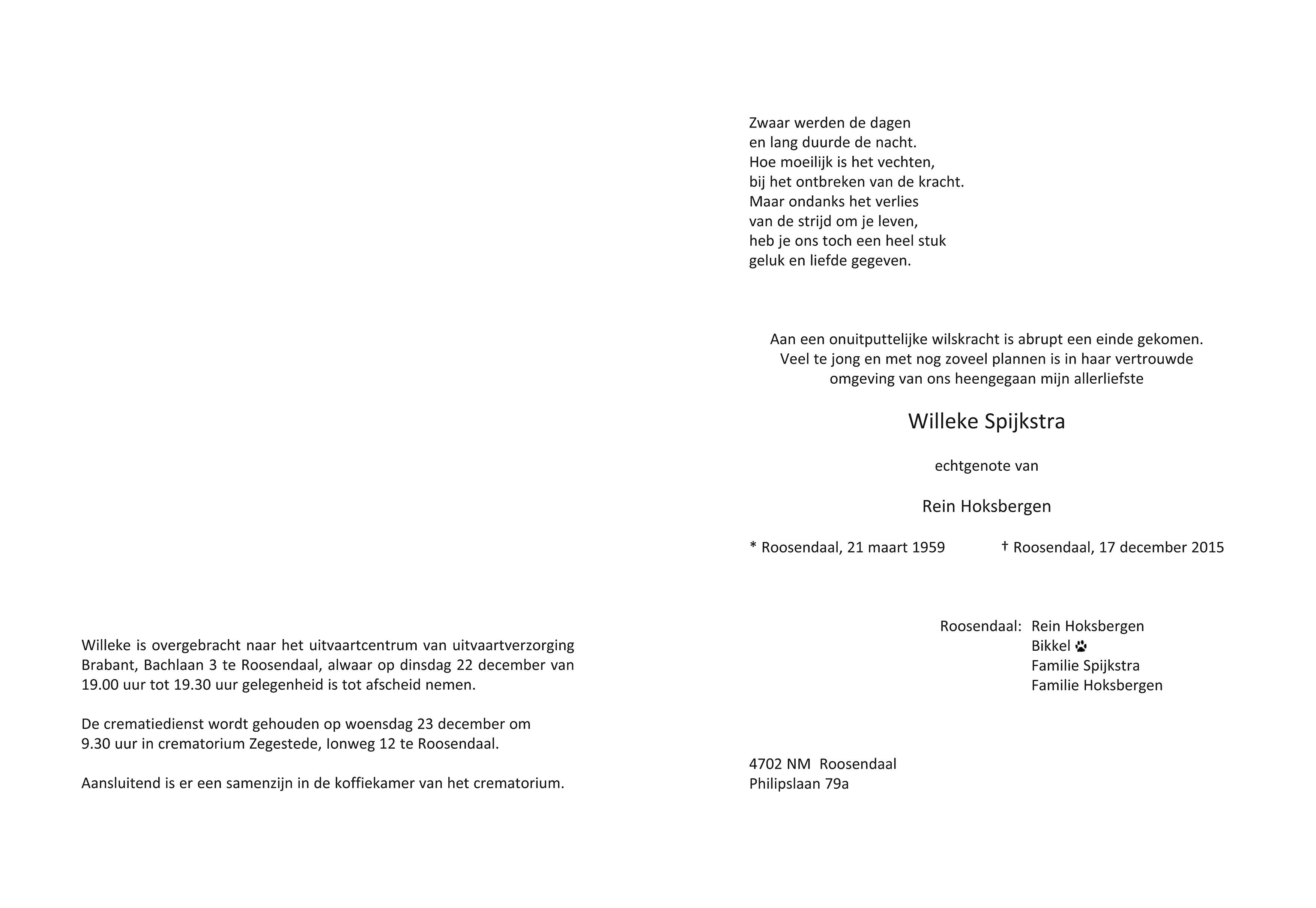 Willeke Spijkstra Death notice