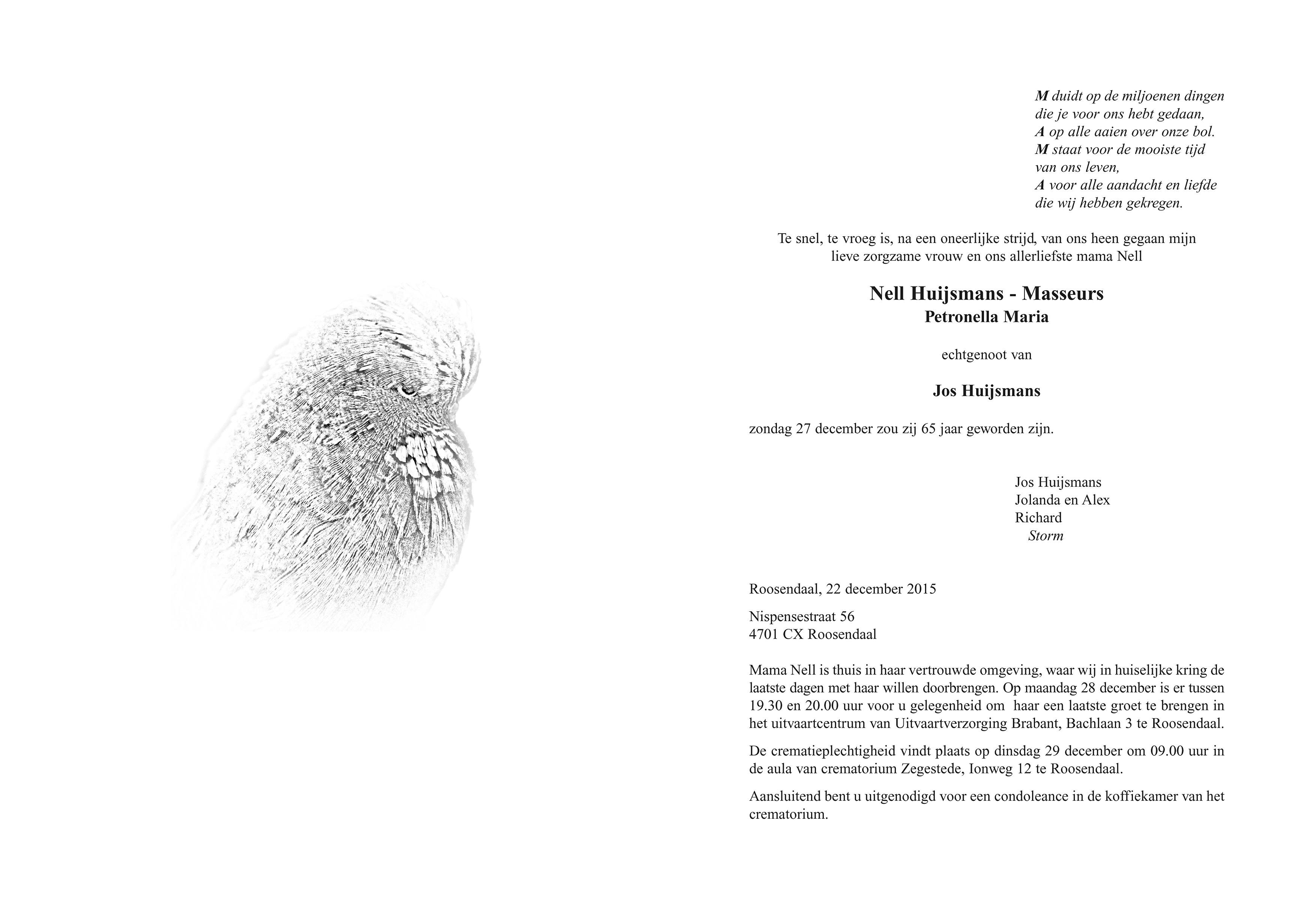 Nell Huijsmans - Masseurs Death notice