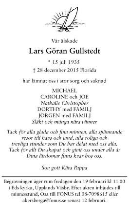 Lars Göran Gullstedt Dödsannons