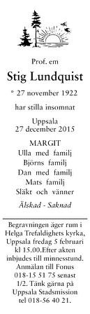 Stig Lundquist Dödsannons