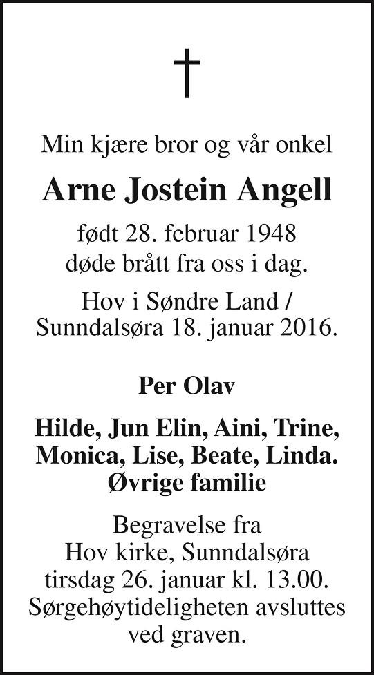Arne Jostein Angell Dødsannonse