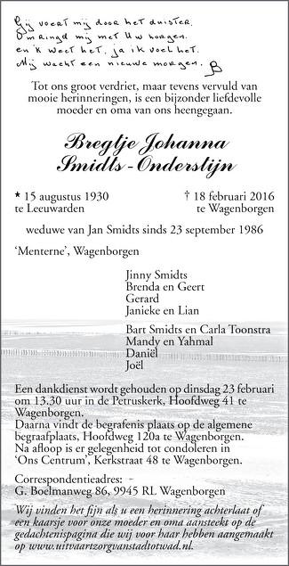 Bregtje Johanna Smidts - Onderstijn Death notice