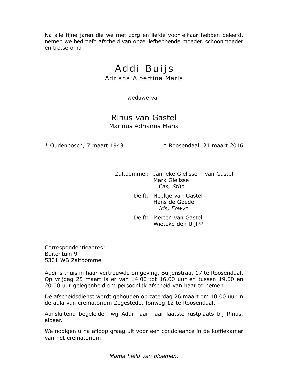 Addi Buijs Death notice
