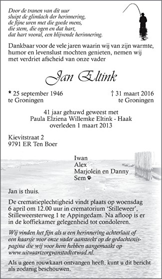 Jan Eltink Death notice