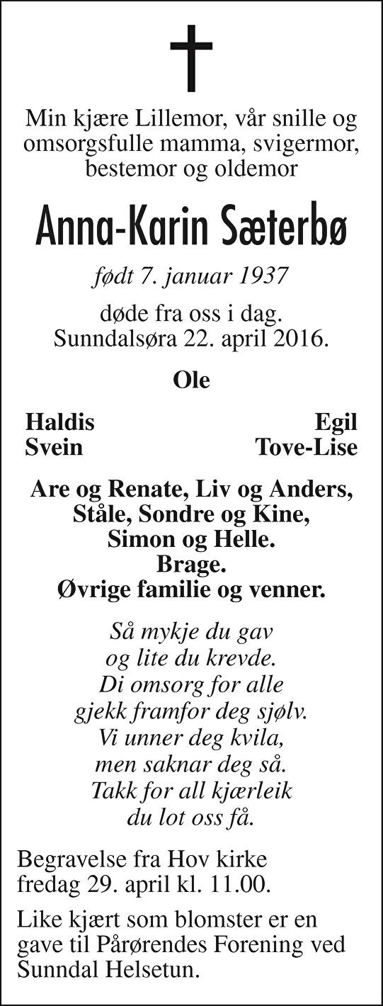 Anna-Karin Sæterbø Dødsannonse