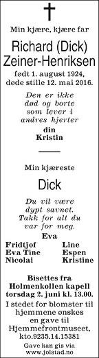 Richard (Dick) Zeiner-Henriksen Dødsannonse