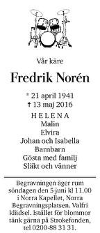 Fredrik Norén Dödsannons