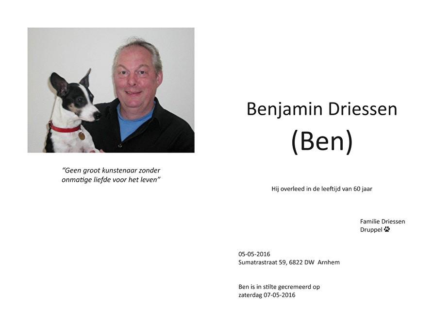 Ben Driessen Death notice