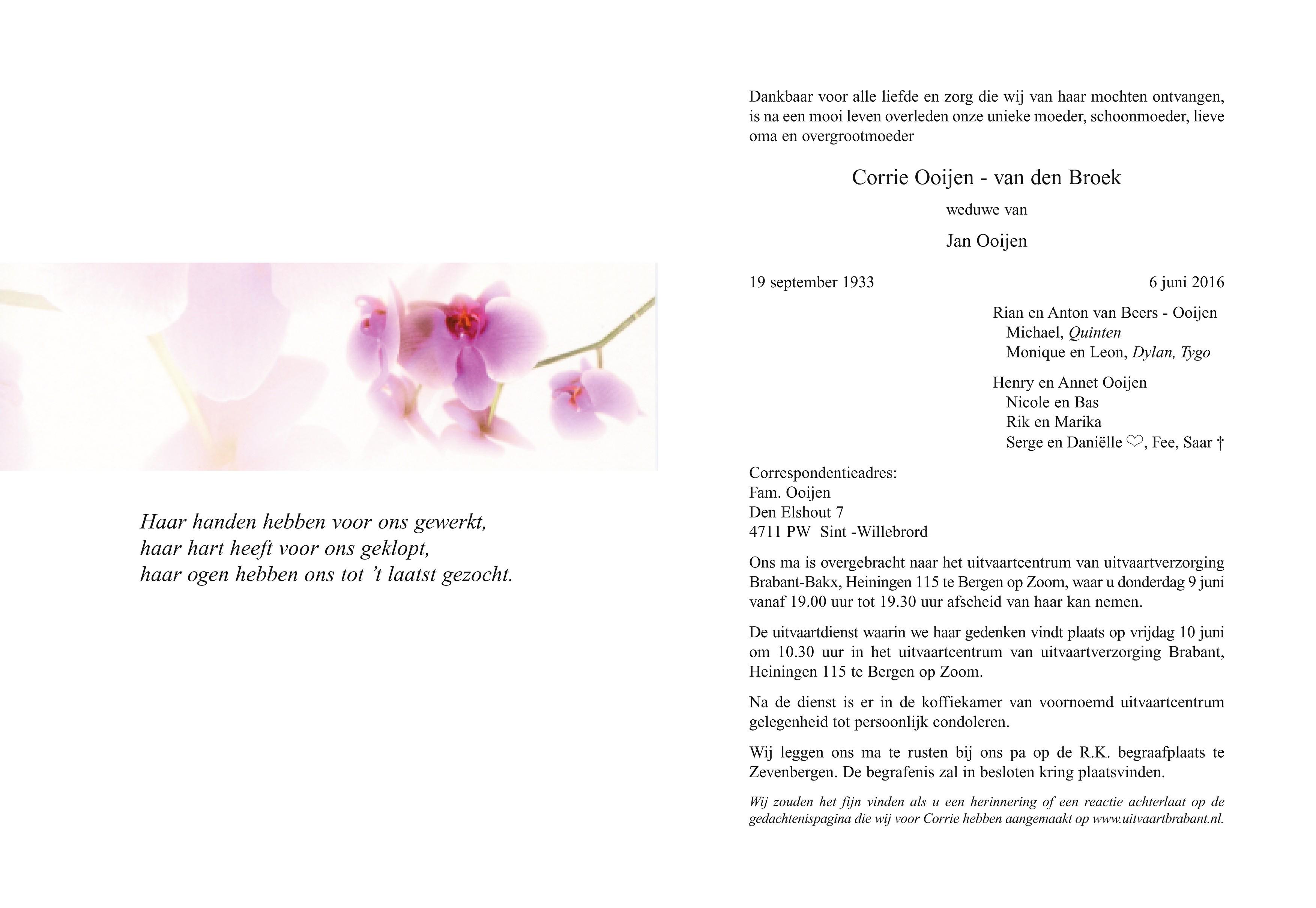 Corrie Ooijen - van den Broek Death notice