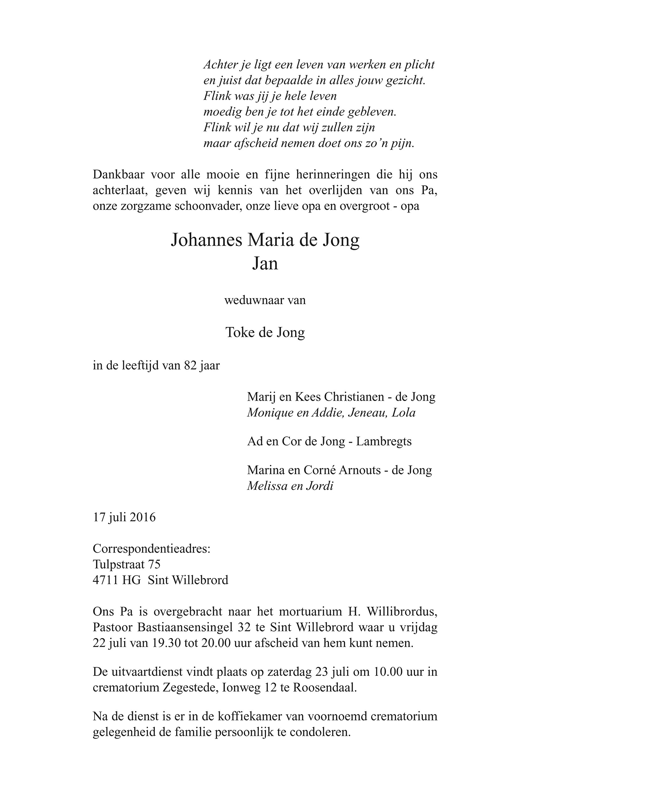 Jan  de Jong Death notice