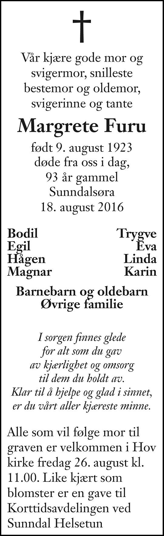 Margrete Furu Dødsannonse