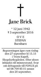Jane Brick Dödsannons