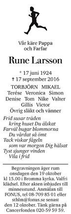 Rune Larsson Dödsannons