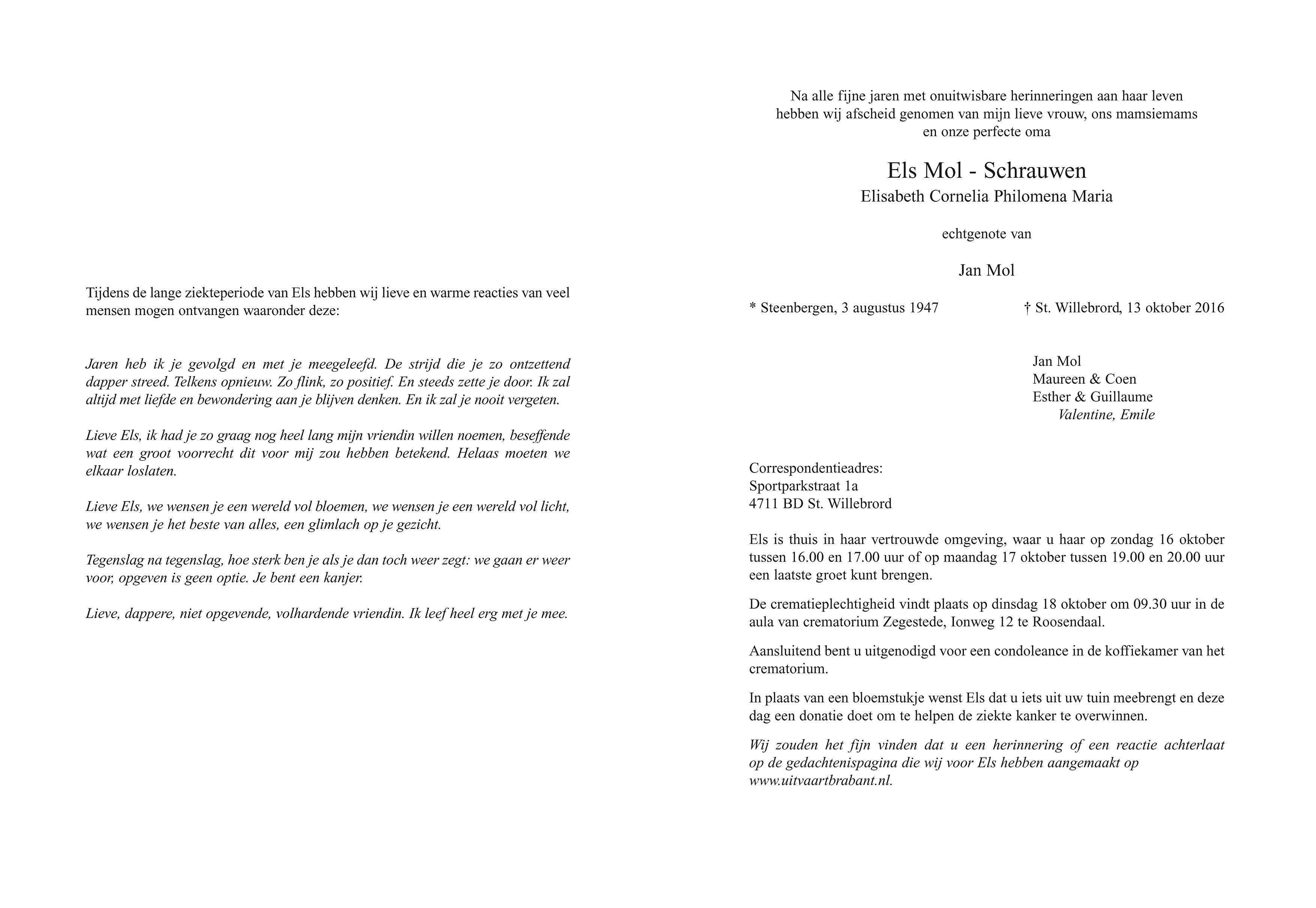 Els Mol - Schrauwen Death notice