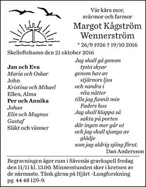 Margot Kågström Wennerström Dödsannons