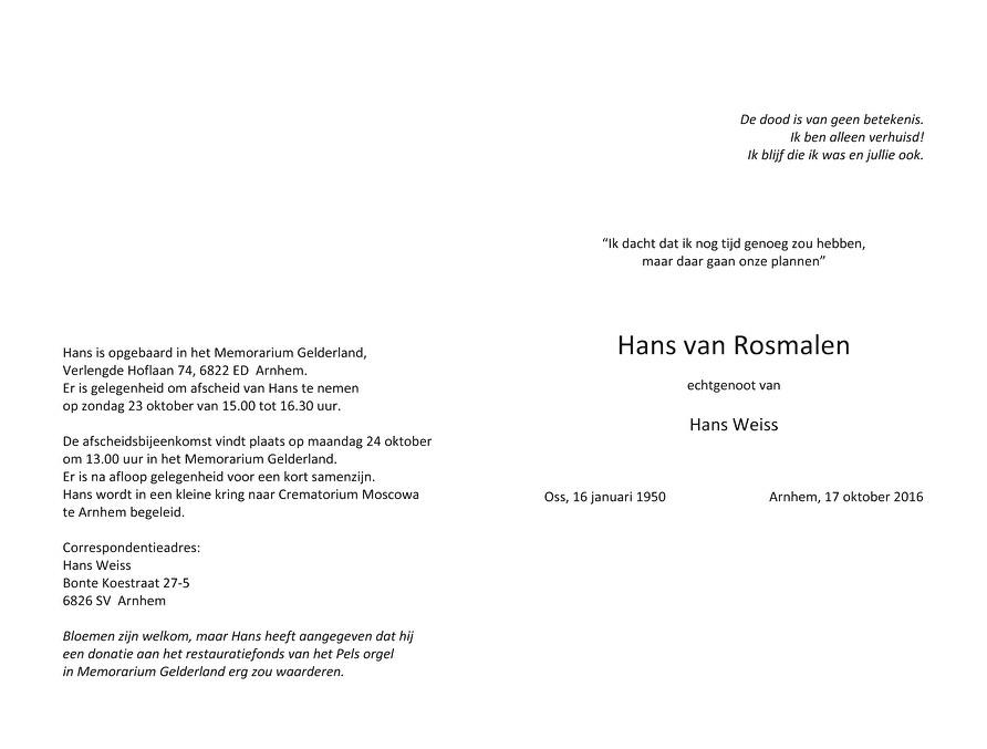 Hans van Rosmalen Death notice