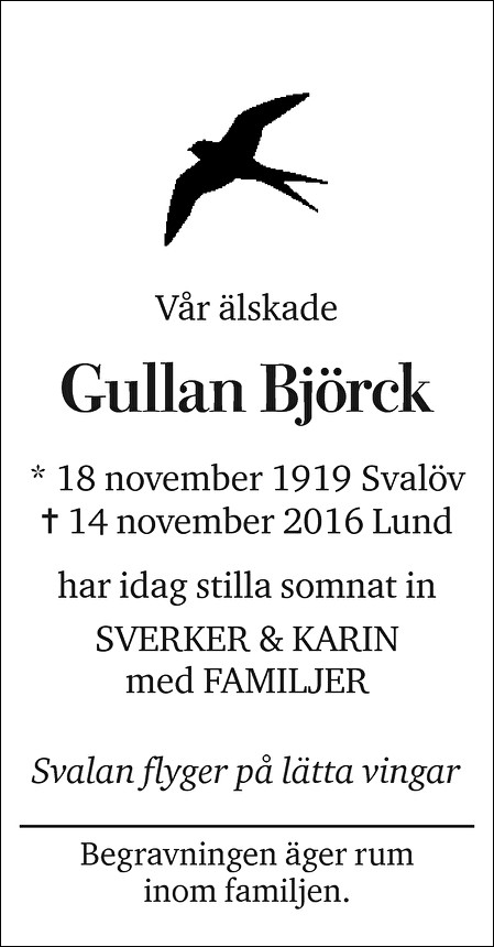Gullan Björck Death notice
