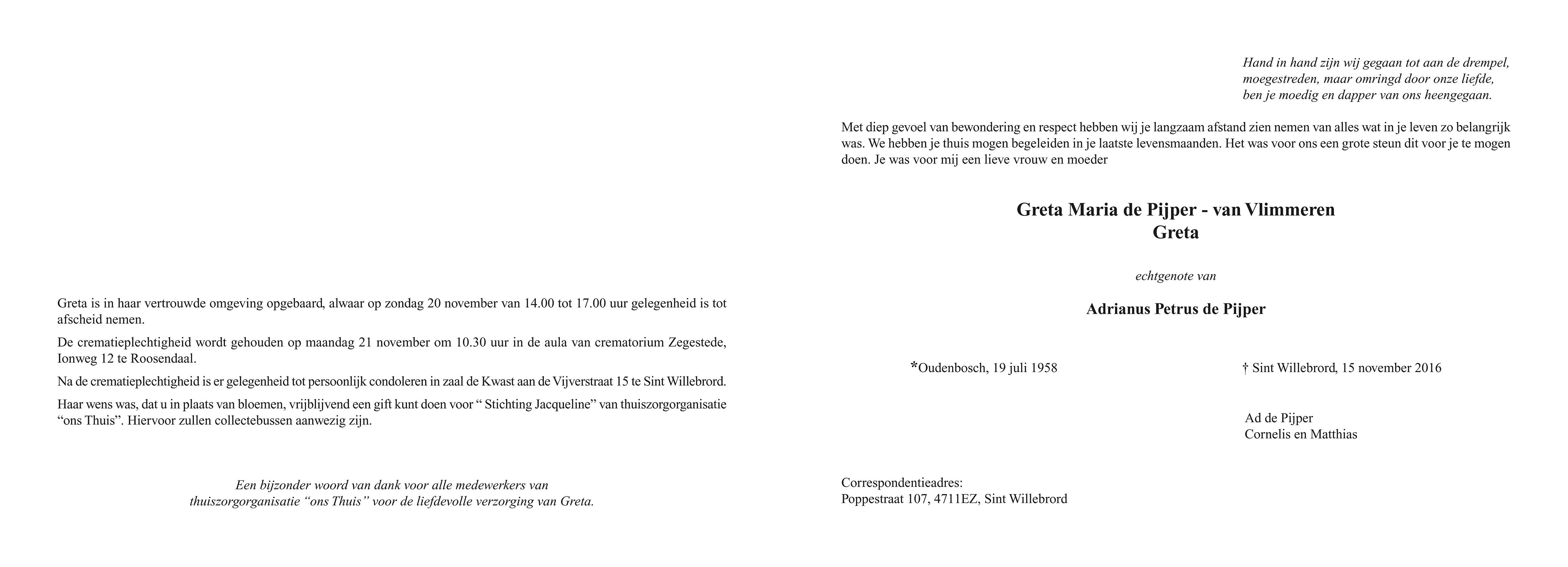 Greta de Pijper - van Vlimmeren Death notice
