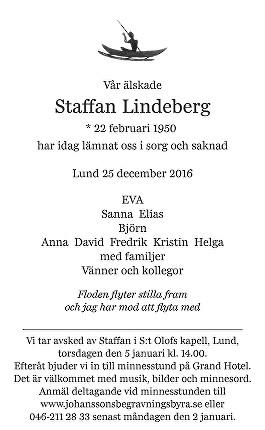 Staffan Lindeberg Dödsannons