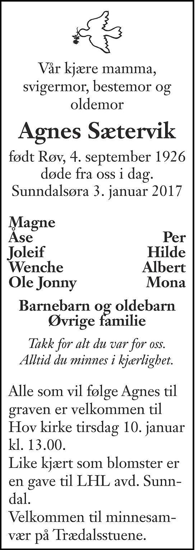 Agnes Sætervik Dødsannonse