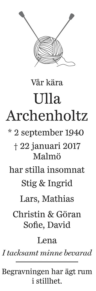 Ulla Archenholtz Death notice