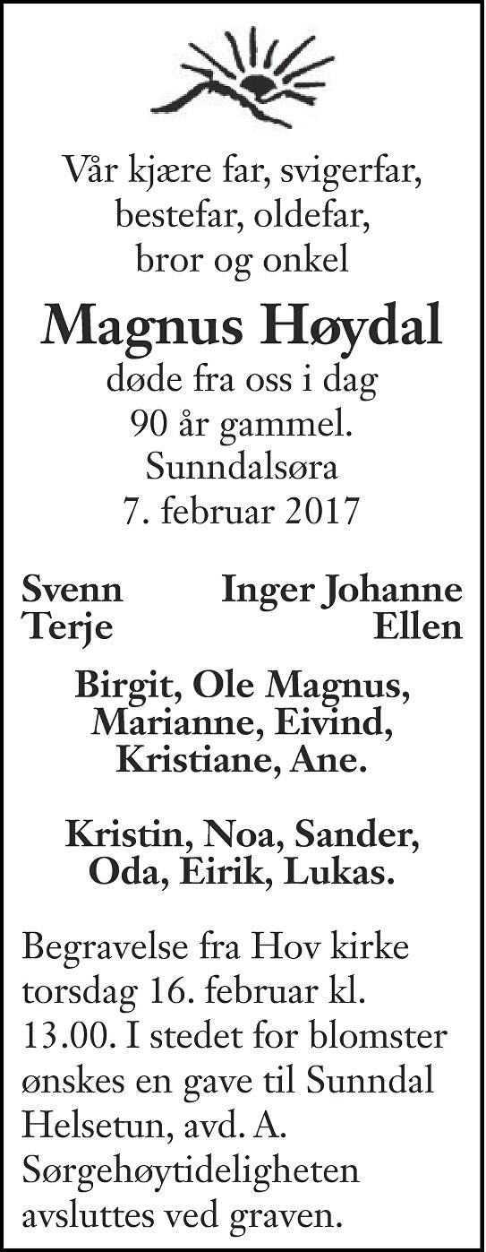 Magnus Kristoffer Høydal Dødsannonse