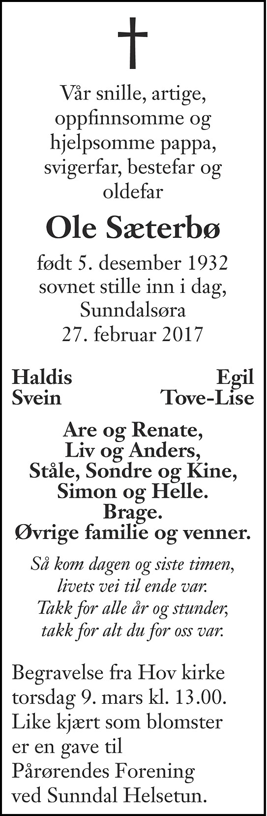Ole Sæterbø Dødsannonse