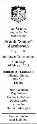 """Frank """"Sanny"""" Jacobsson Dödsannons"""