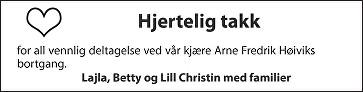 Arne Fredrik Høivik Dødsannonse