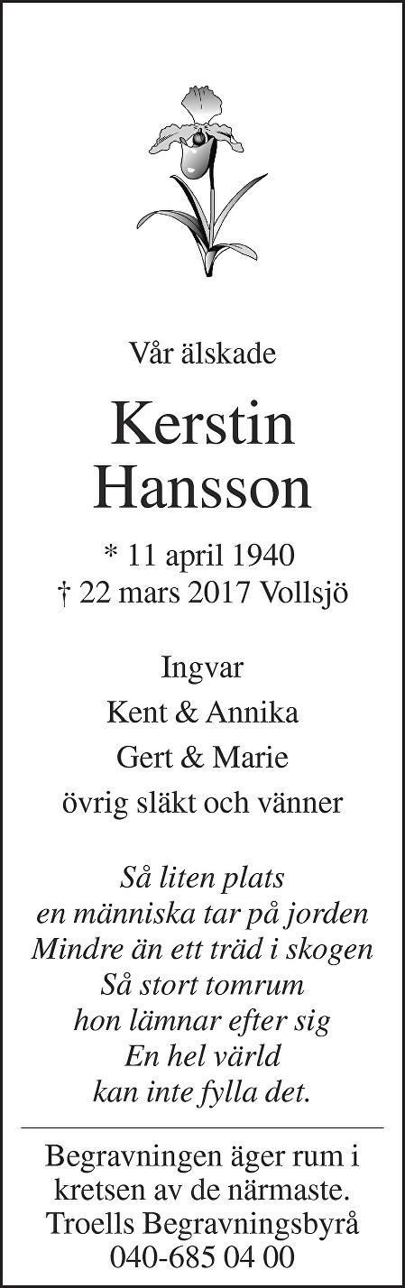 Kerstin Hansson Death notice