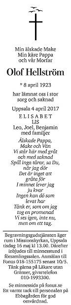 Olof Hellström Dödsannons