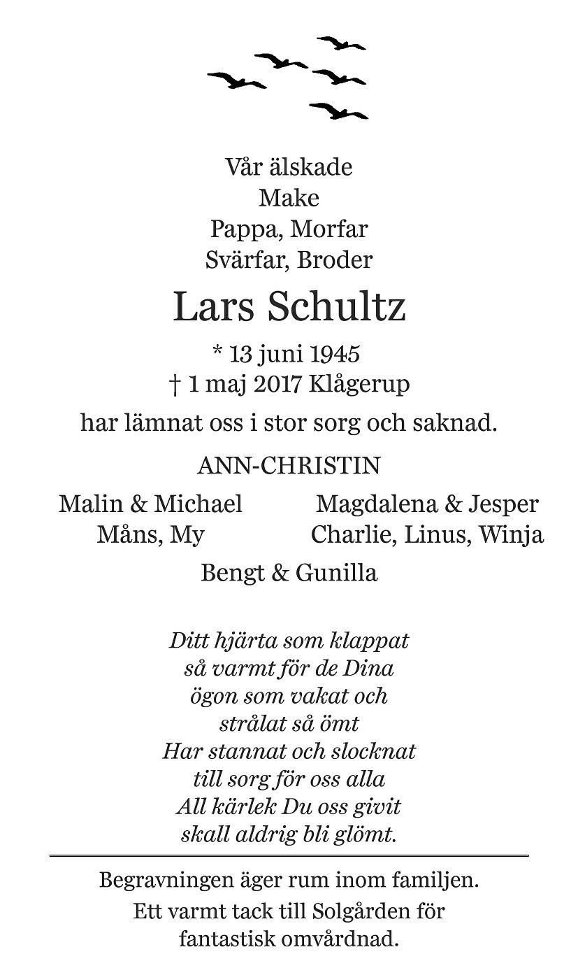 Lars Schultz Death notice