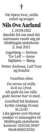 Nils Ove Aarland Dødsannonse