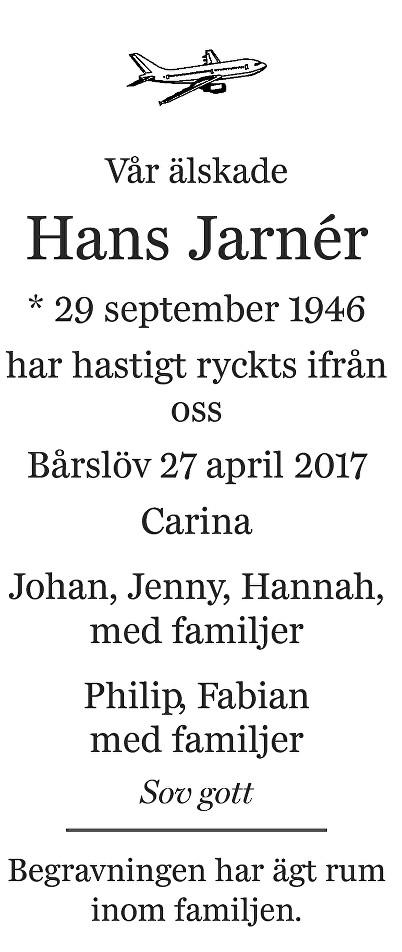 Hans Jarnér Death notice