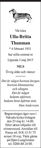 Ulla-Britta Thunman Dödsannons