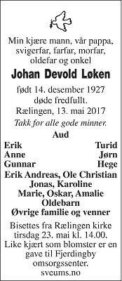 Johan Devold Løken Dødsannonse