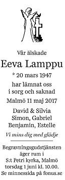 Eeva Lamppu Dödsannons