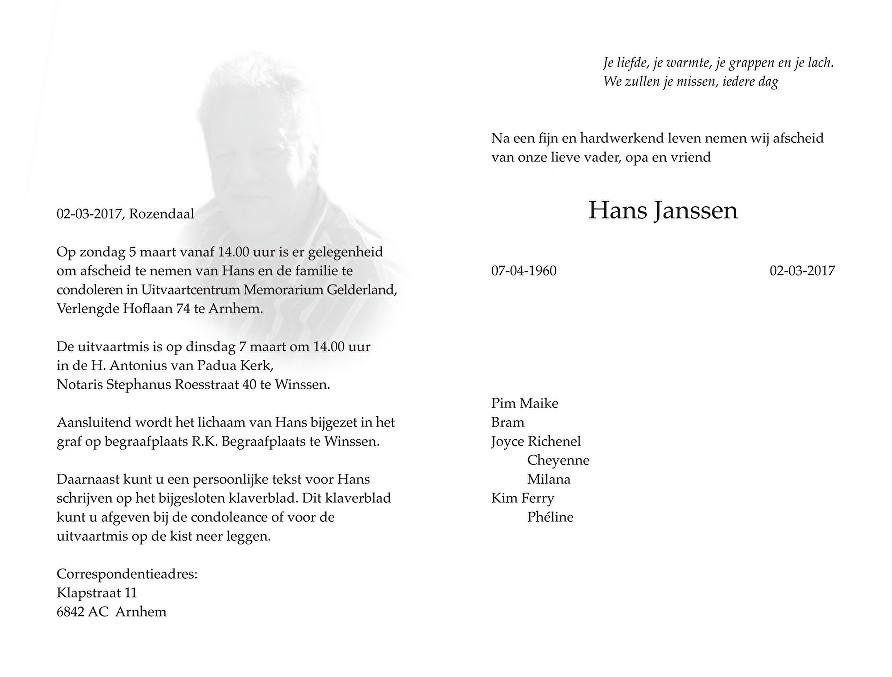 Hans Janssen Death notice