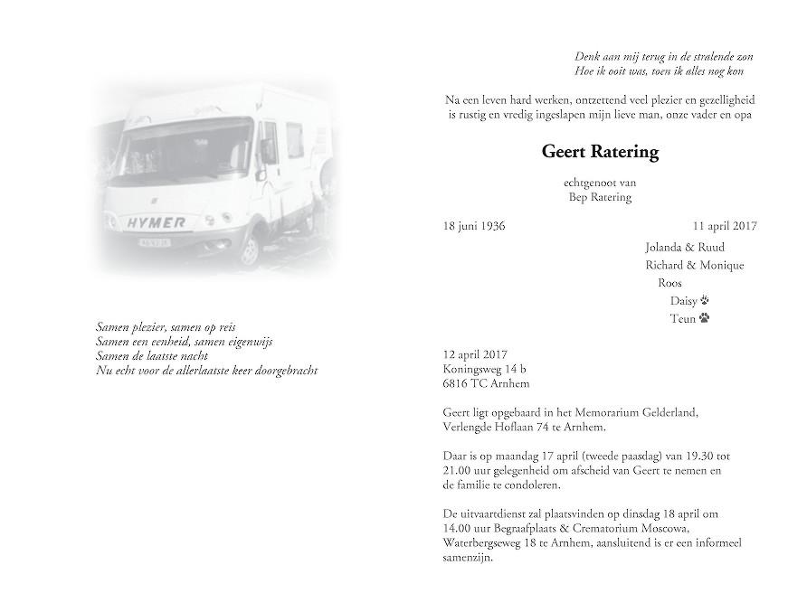 Geert Ratering Death notice