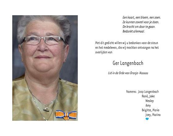 Ger Langenbach Ulrich Death notice