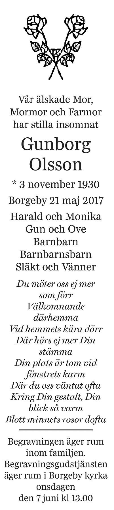 Gunborg Olsson Death notice