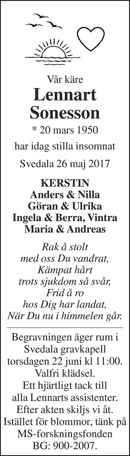 Lennart Sonesson Death notice