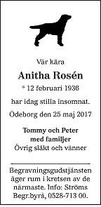 Anitha Rosén Death notice