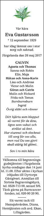 Eva Gustavsson Death notice