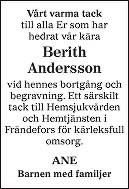 Berith Andersson Death notice
